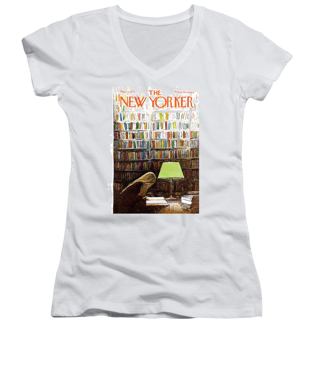 Library Student University College Study Books Campus Students Test Paper Homework Graduate Arthur Getz Arthur Getz Agt Bodinbodin Artkey 50184 Topgetz Women's V-Neck featuring the painting Late Night At The Library by Arthur Getz