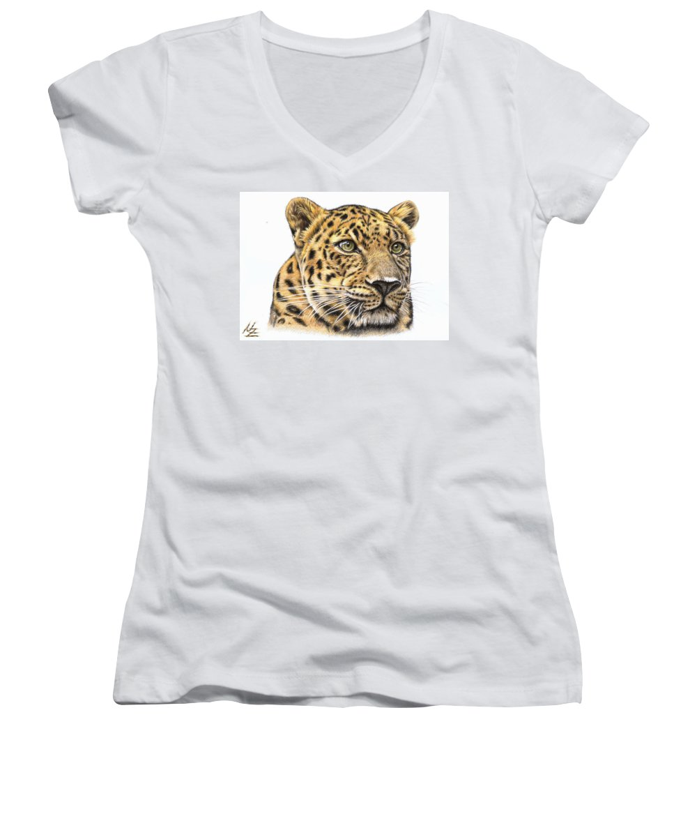 Leopard Women's V-Neck T-Shirt featuring the drawing Leopard by Nicole Zeug