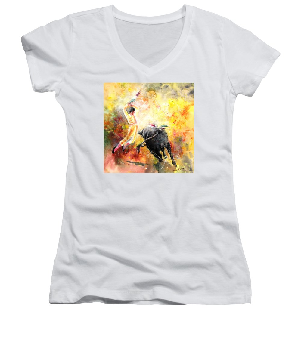 Animals Women's V-Neck (Athletic Fit) featuring the painting Lightning Strikes by Miki De Goodaboom