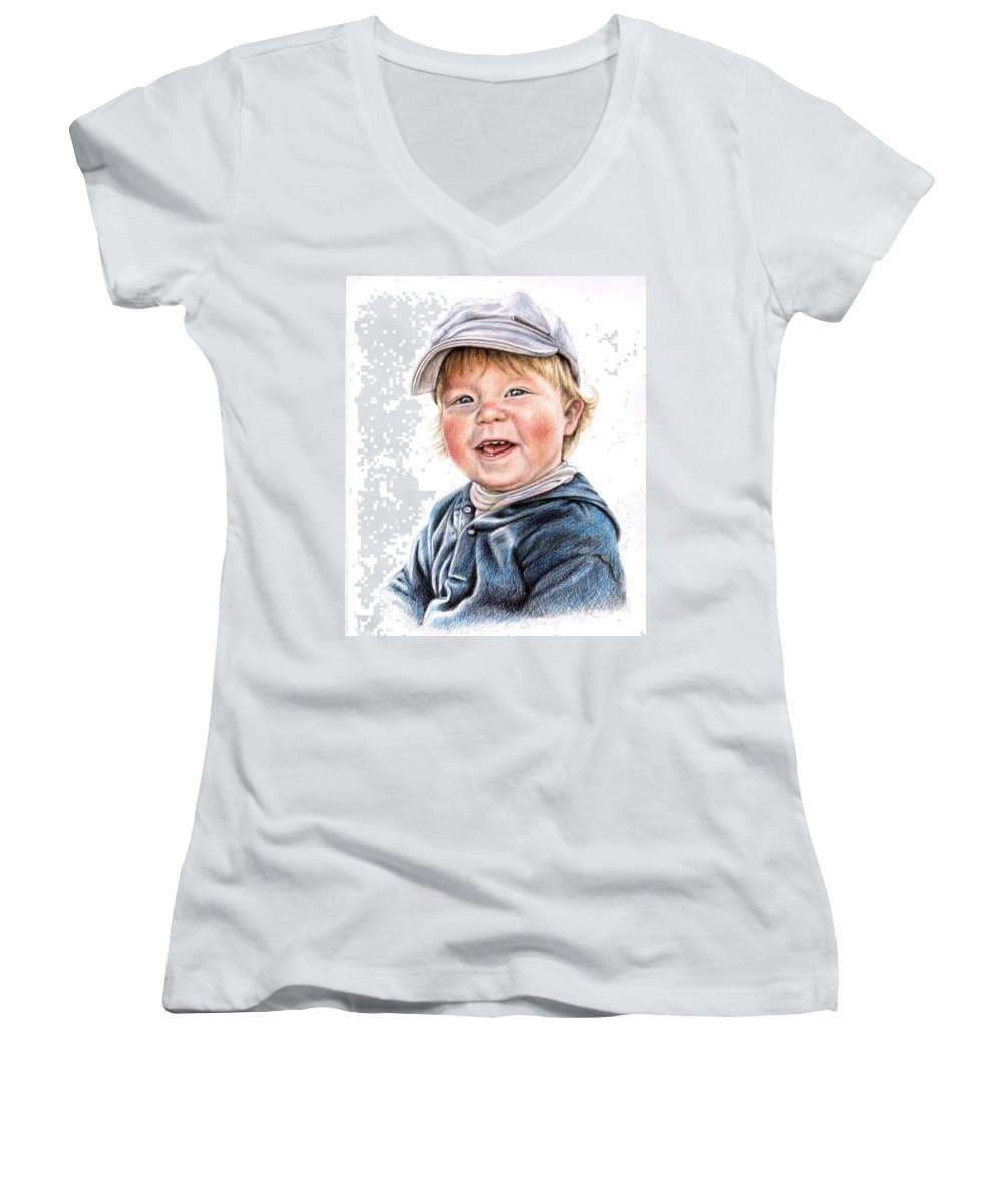 Boy Women's V-Neck (Athletic Fit) featuring the drawing Little Boy by Nicole Zeug