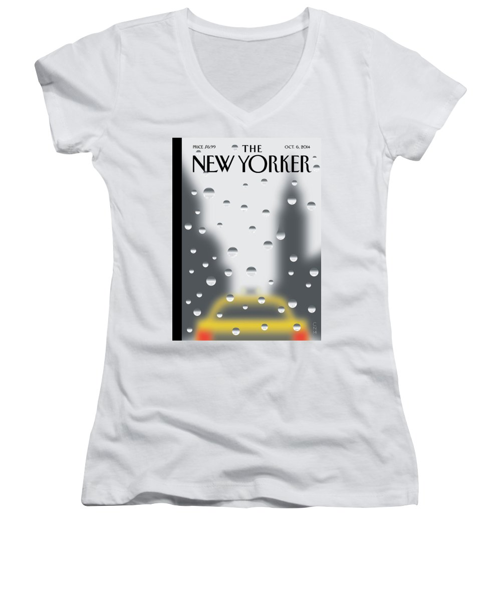 141060 Women's V-Neck featuring the painting Rainy Day by Christoph Niemann