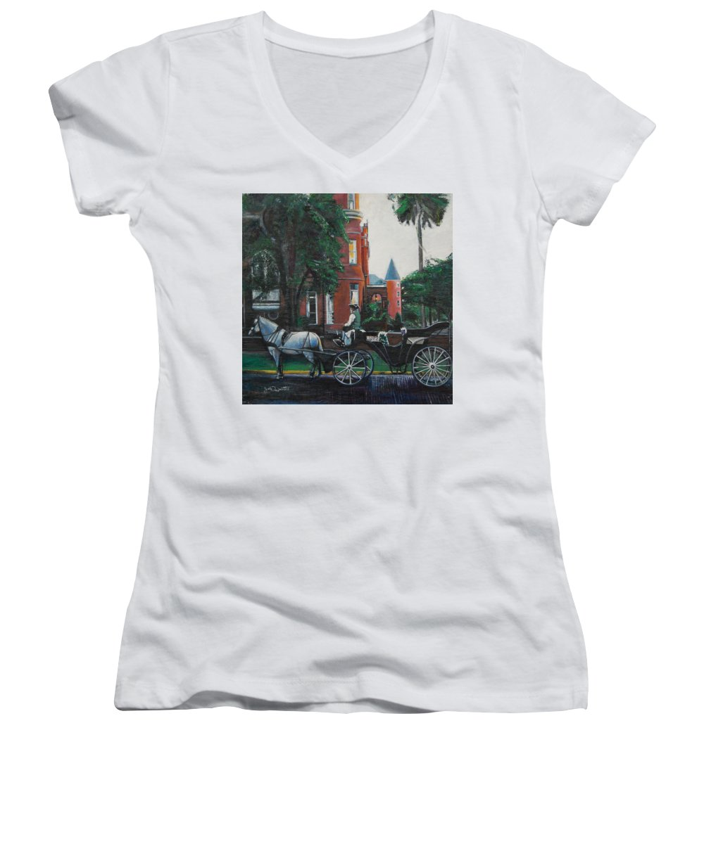 Women's V-Neck T-Shirt featuring the painting Mansion On Forsythe Savannah Georgia by Jude Darrien