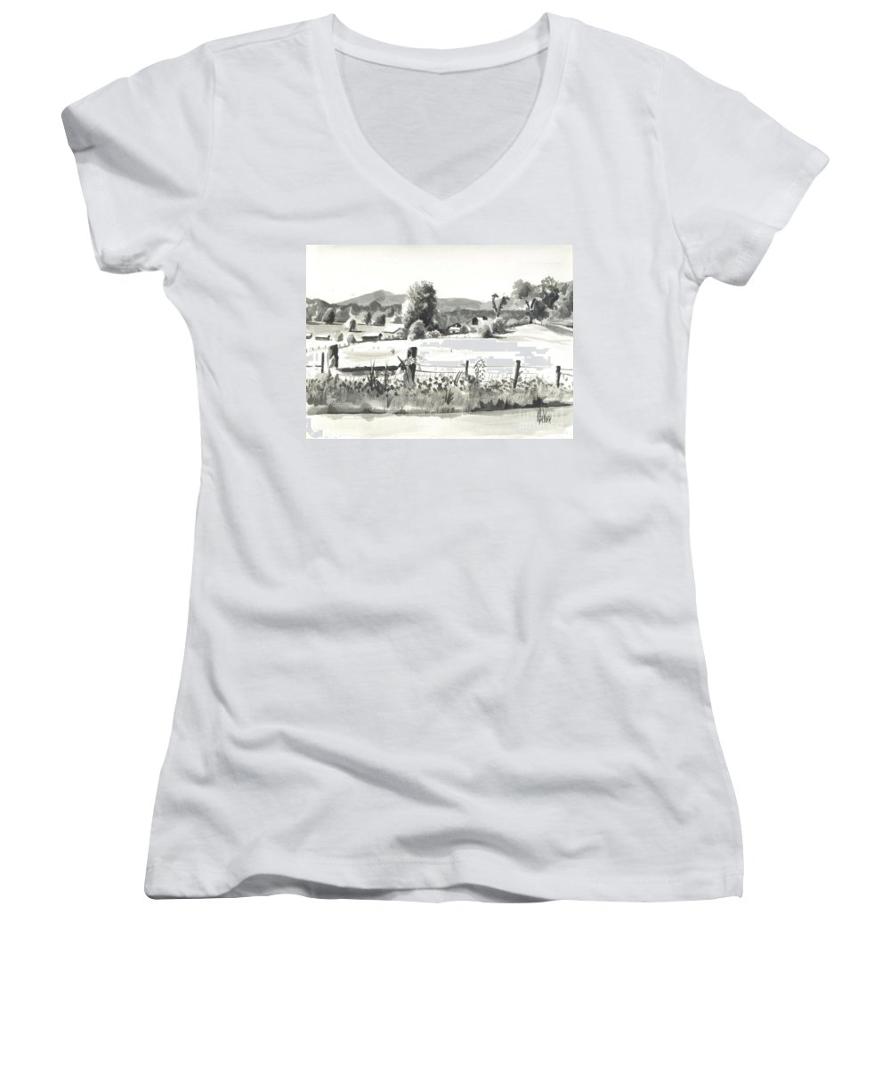 Midsummer View Out Route Jj  No I101 Women's V-Neck T-Shirt featuring the painting Midsummer View Out Route Jj  No I101 by Kip DeVore