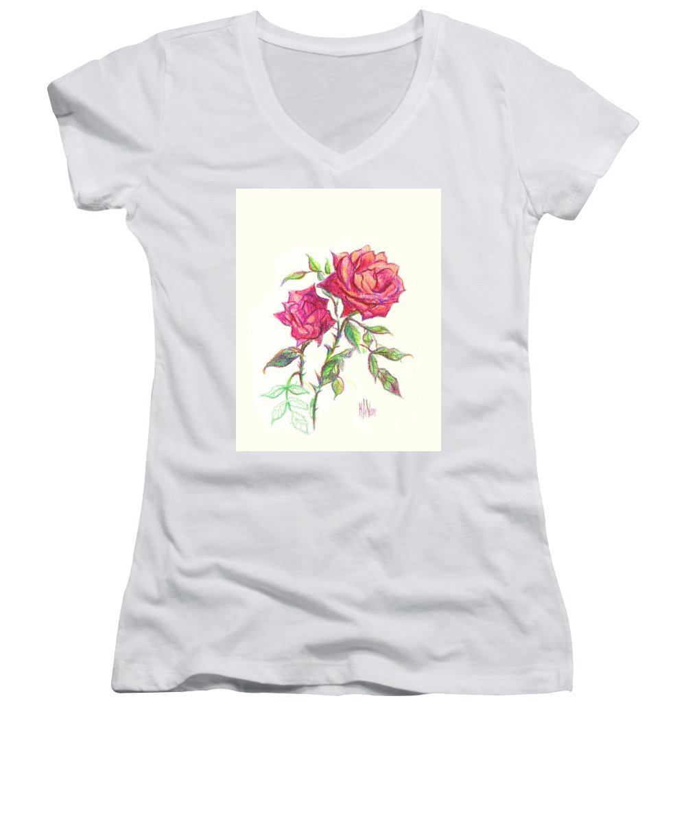 Nature Women's V-Neck T-Shirt featuring the painting Minature Red Rose by Kip DeVore