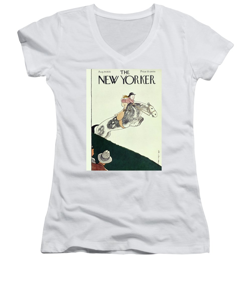 Animal Women's V-Neck featuring the painting New Yorker August 24 1935 by Rea Irvin