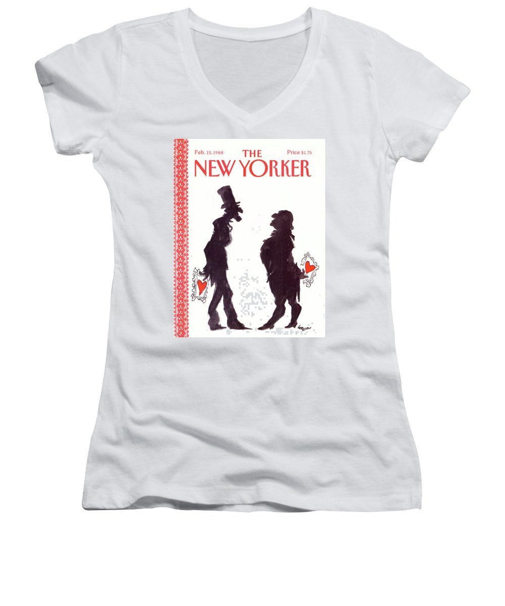 Holidays Women's V-Neck featuring the painting New Yorker February 15th, 1988 by Lee Lorenz