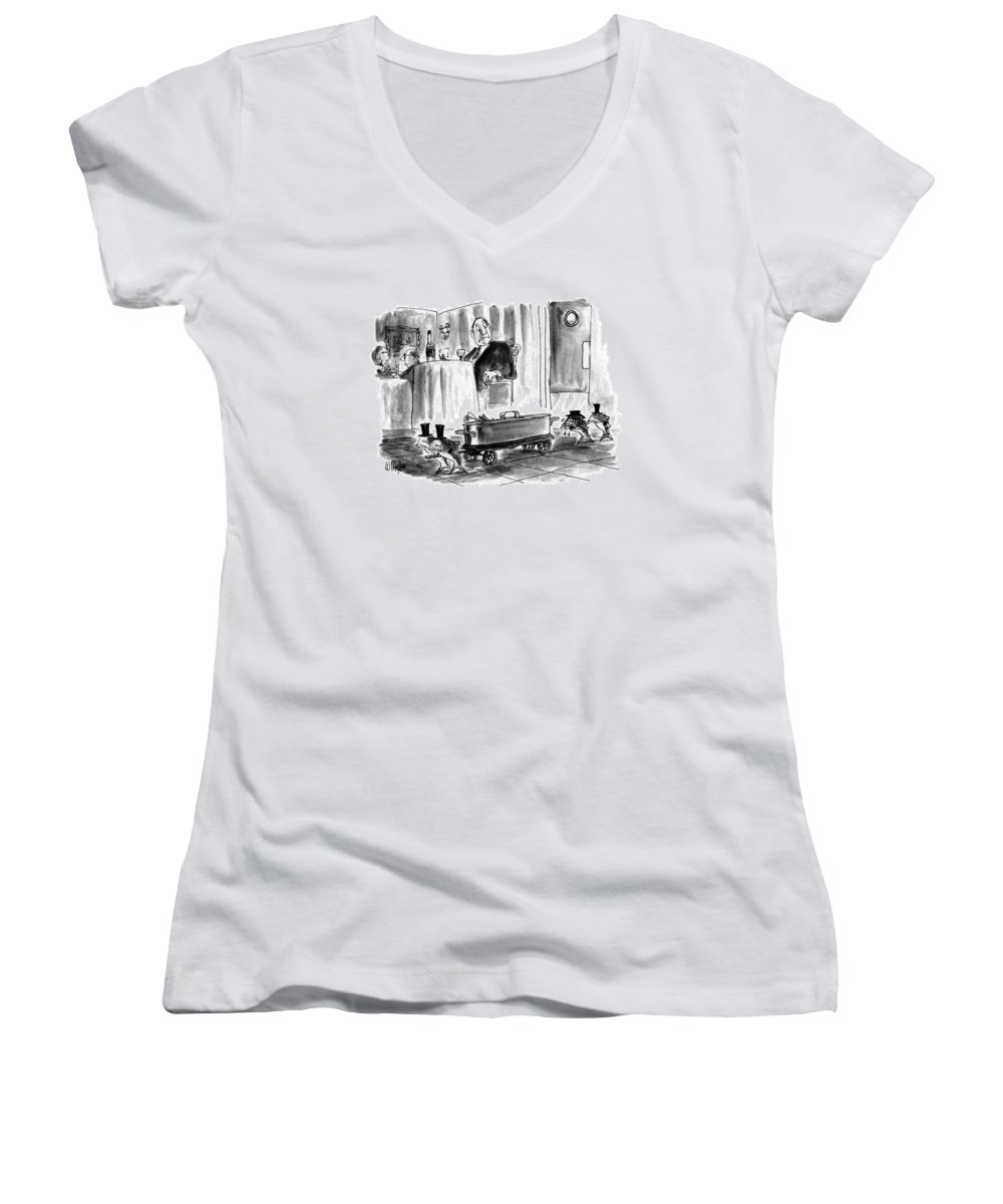 Animals Women's V-Neck featuring the drawing New Yorker July 27th, 1992 by Warren Miller