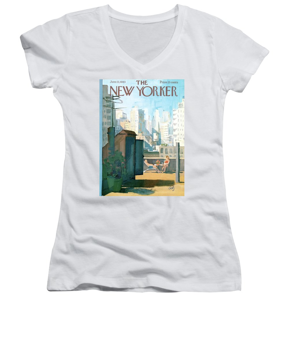 Women's V-Neck featuring the painting New Yorker June 22nd, 1963 by Arthur Getz