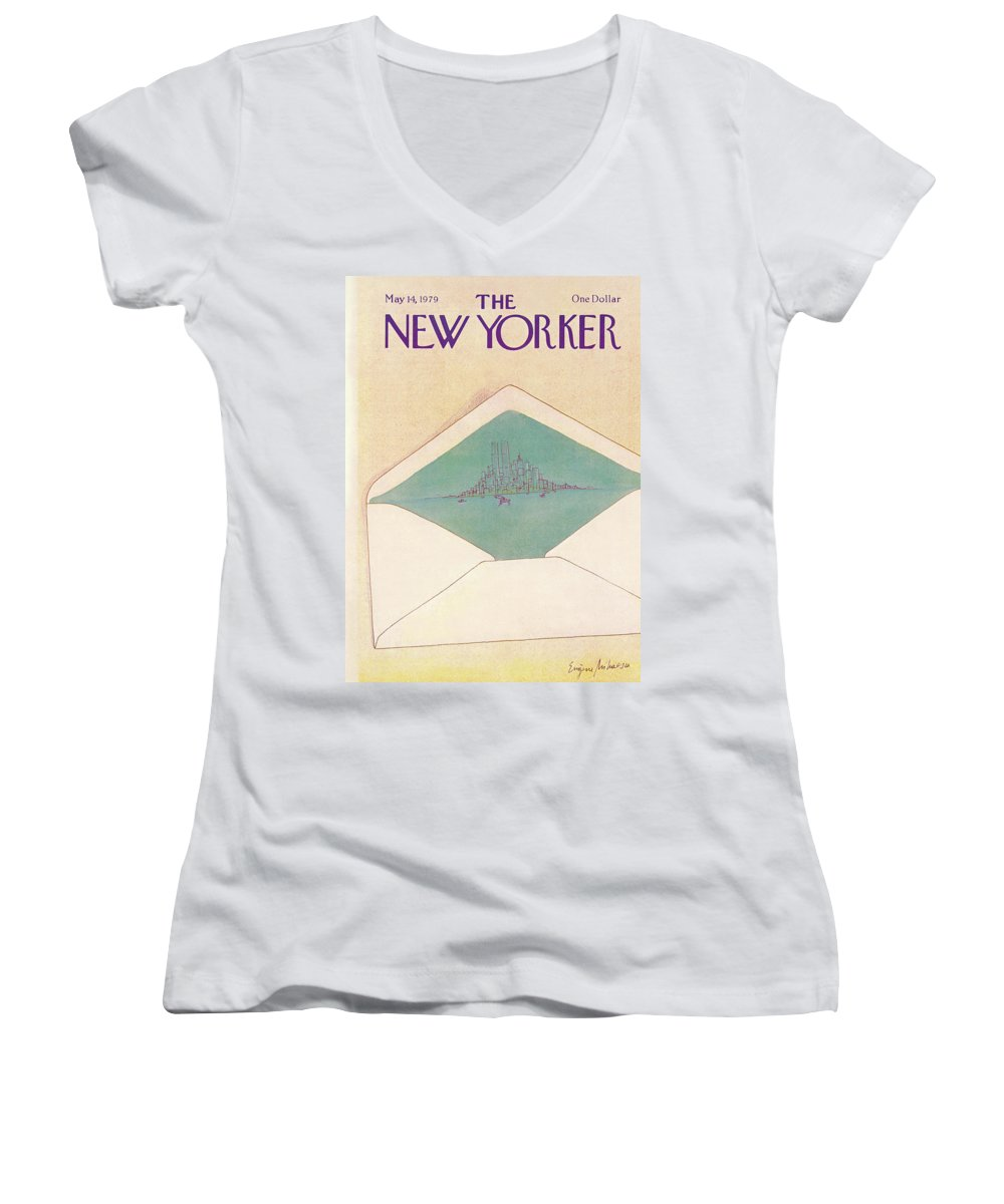 Eugene Mihaesco Emi Women's V-Neck featuring the painting New Yorker May 14th, 1979 by Eugene Mihaesco