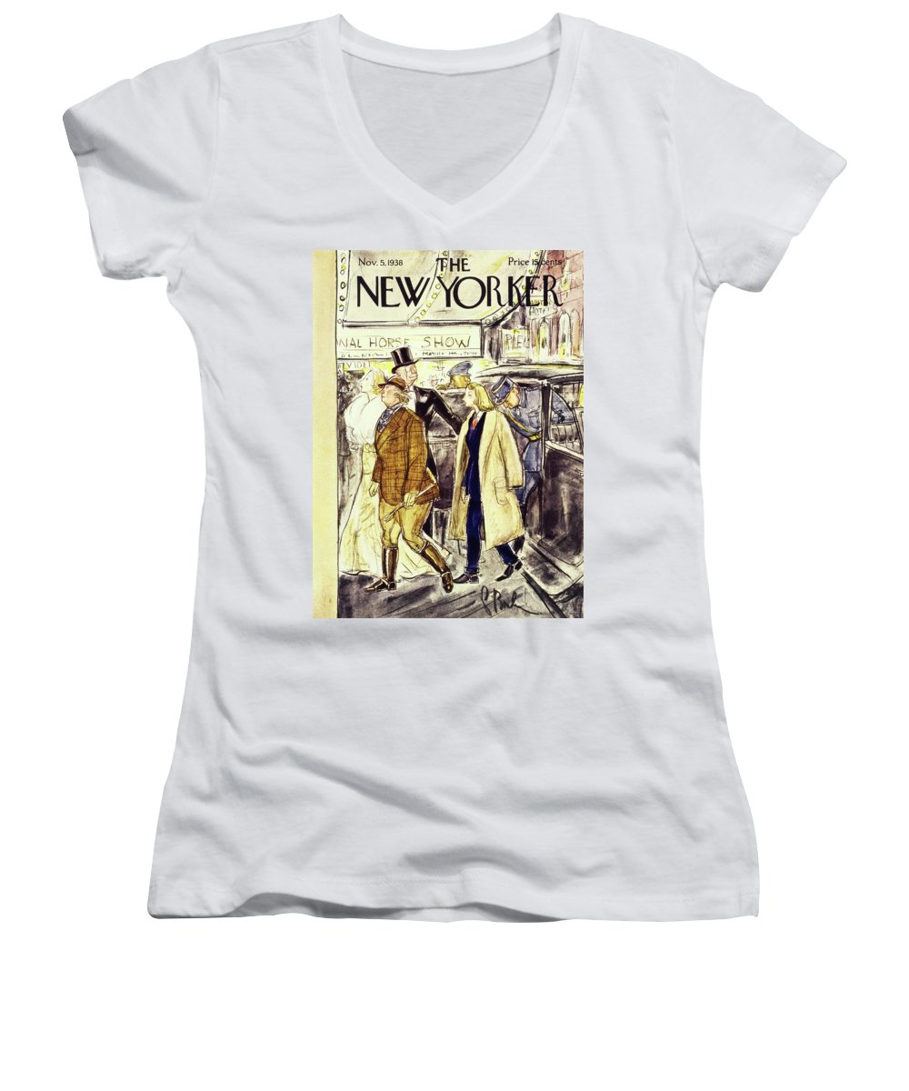 National Horse Show Women's V-Neck featuring the painting New Yorker November 5 1938 by Perry Barlow