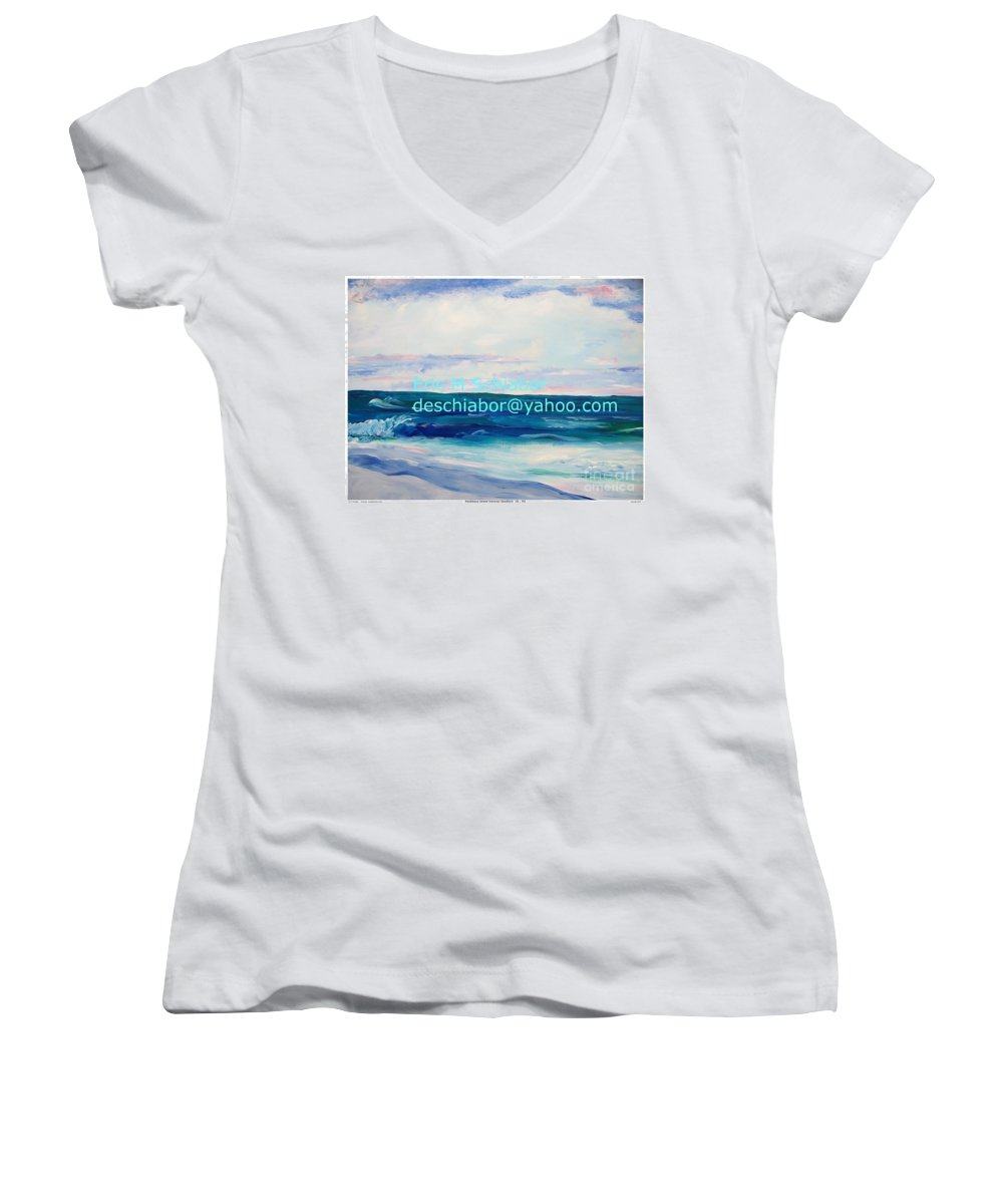 Floral Women's V-Neck (Athletic Fit) featuring the painting Ocean Assateague Virginia by Eric Schiabor