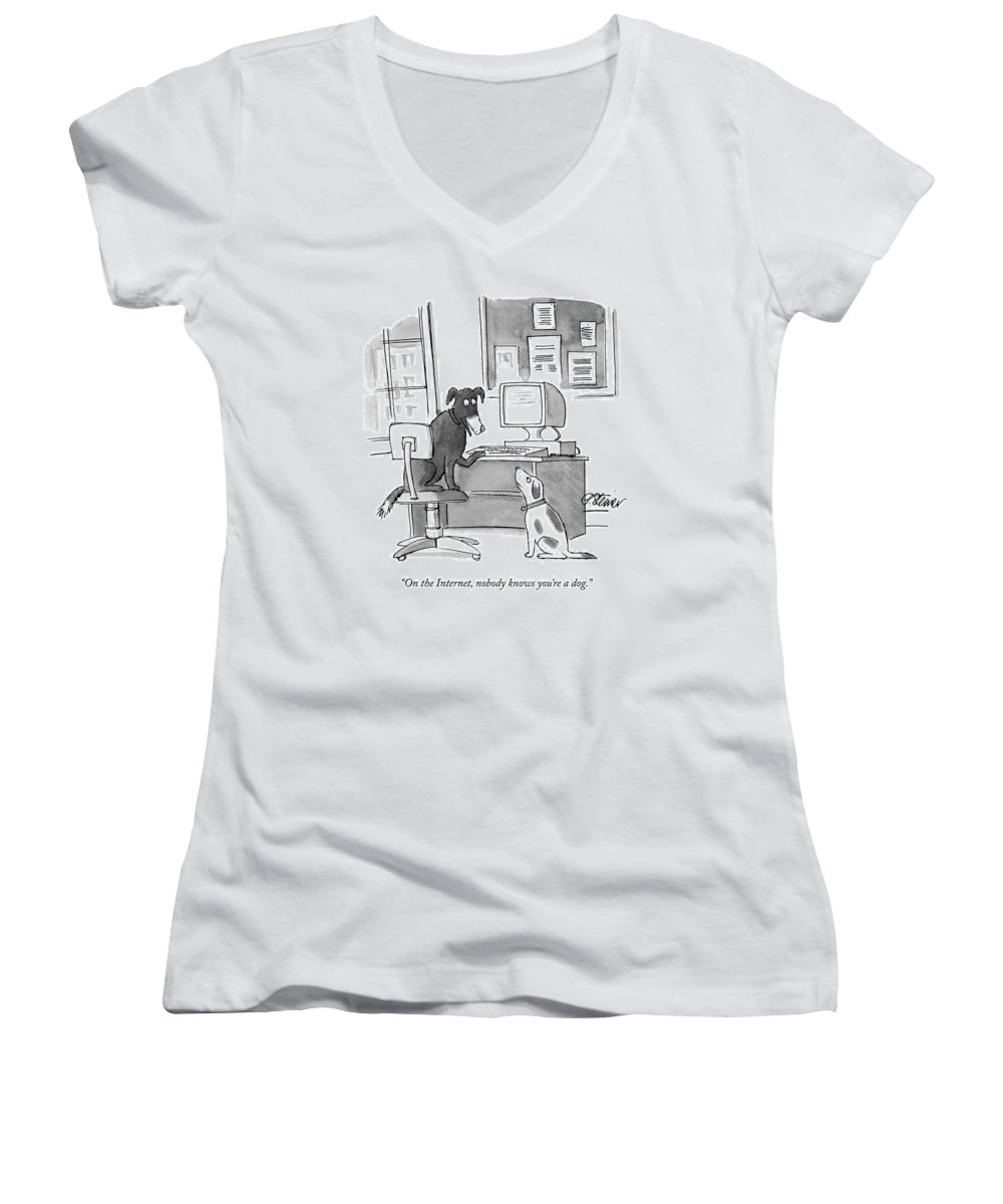On The Internet Women's V-Neck featuring the drawing On The Internet by Peter Steiner
