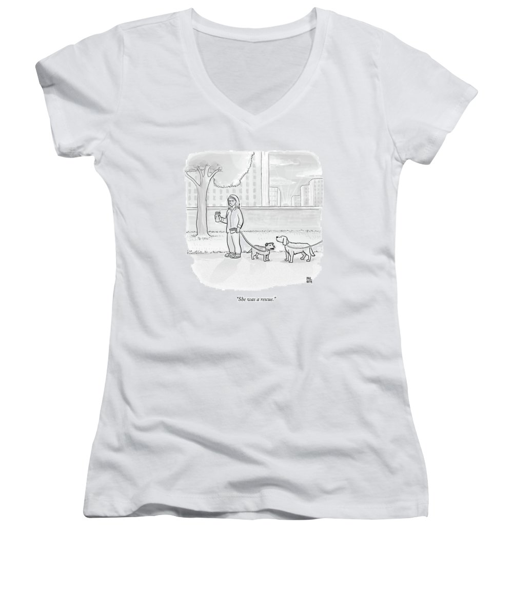 Dogs Women's V-Neck featuring the drawing One Dog Talks To Another by Paul Noth