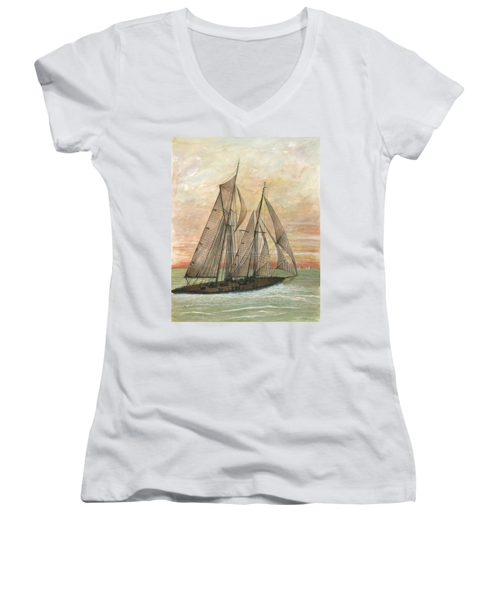 Sailboat; Ocean; Sunset Women's V-Neck (Athletic Fit) featuring the painting Out To Sea by Ben Kiger
