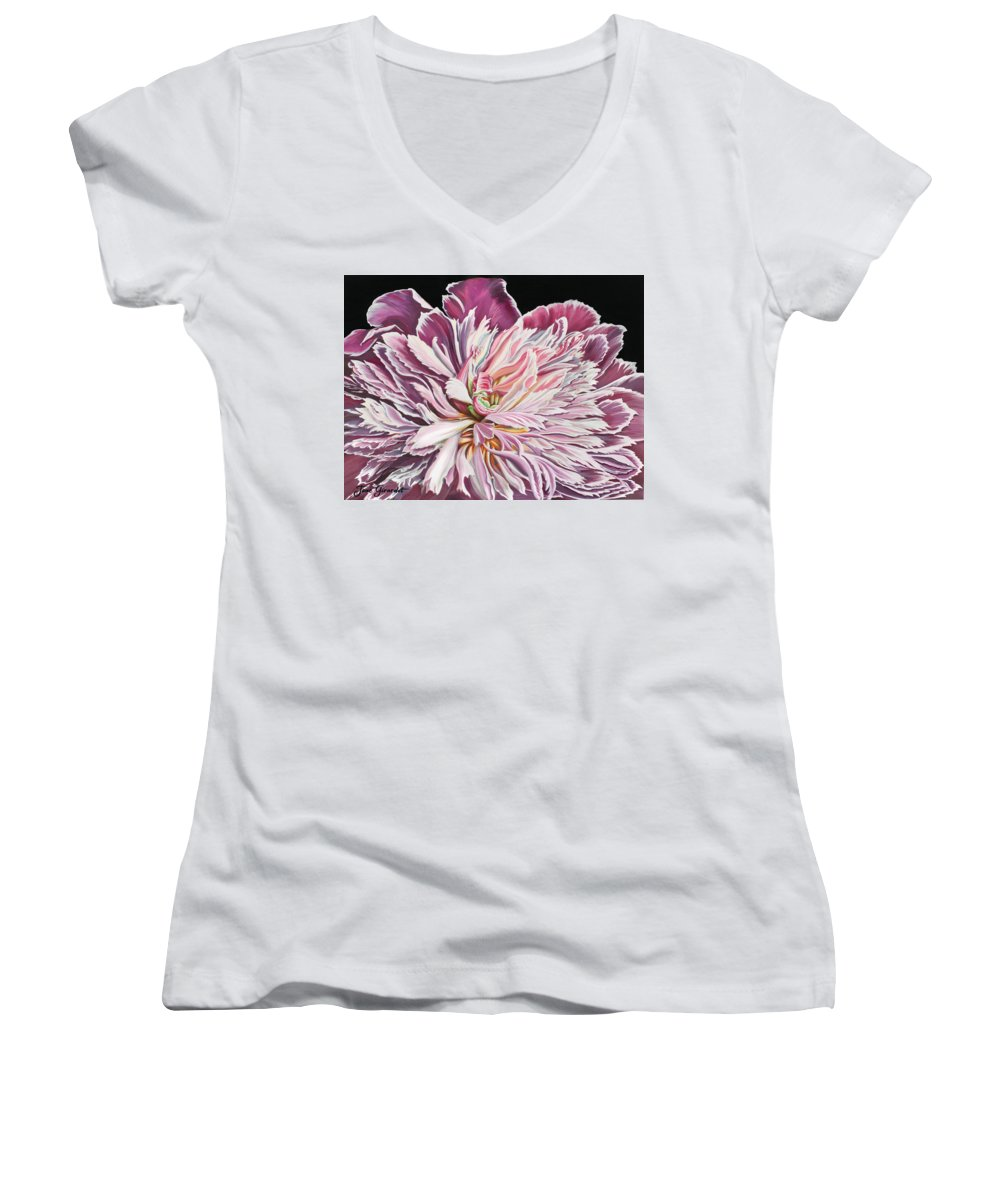 Flower Women's V-Neck T-Shirt featuring the painting Pink Peony by Jane Girardot