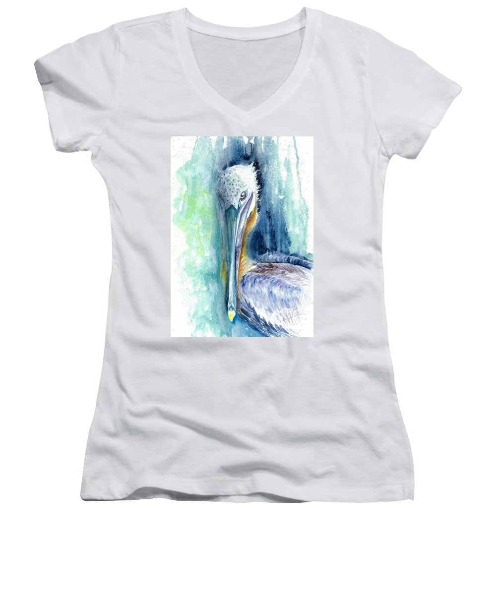 Florida Keys Artwork Women's V-Neck featuring the painting Priscilla by Ashley Kujan