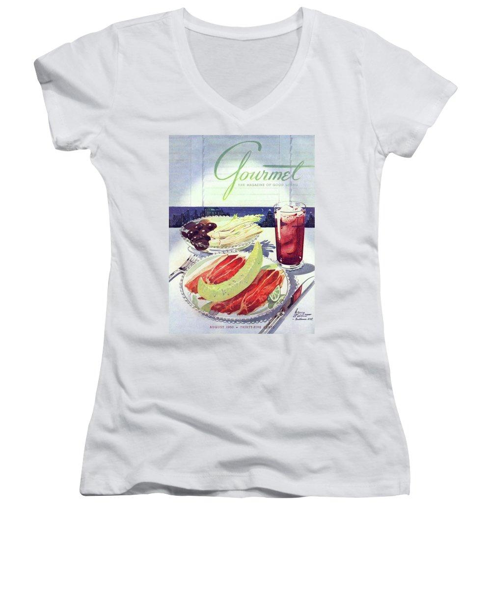 Food Women's V-Neck featuring the photograph Prosciutto, Melon, Olives, Celery And A Glass by Henry Stahlhut