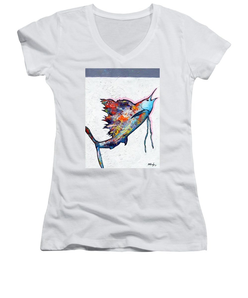 Wildlife Women's V-Neck T-Shirt featuring the painting Rainbow Warrior - Sailfish by Joe Triano