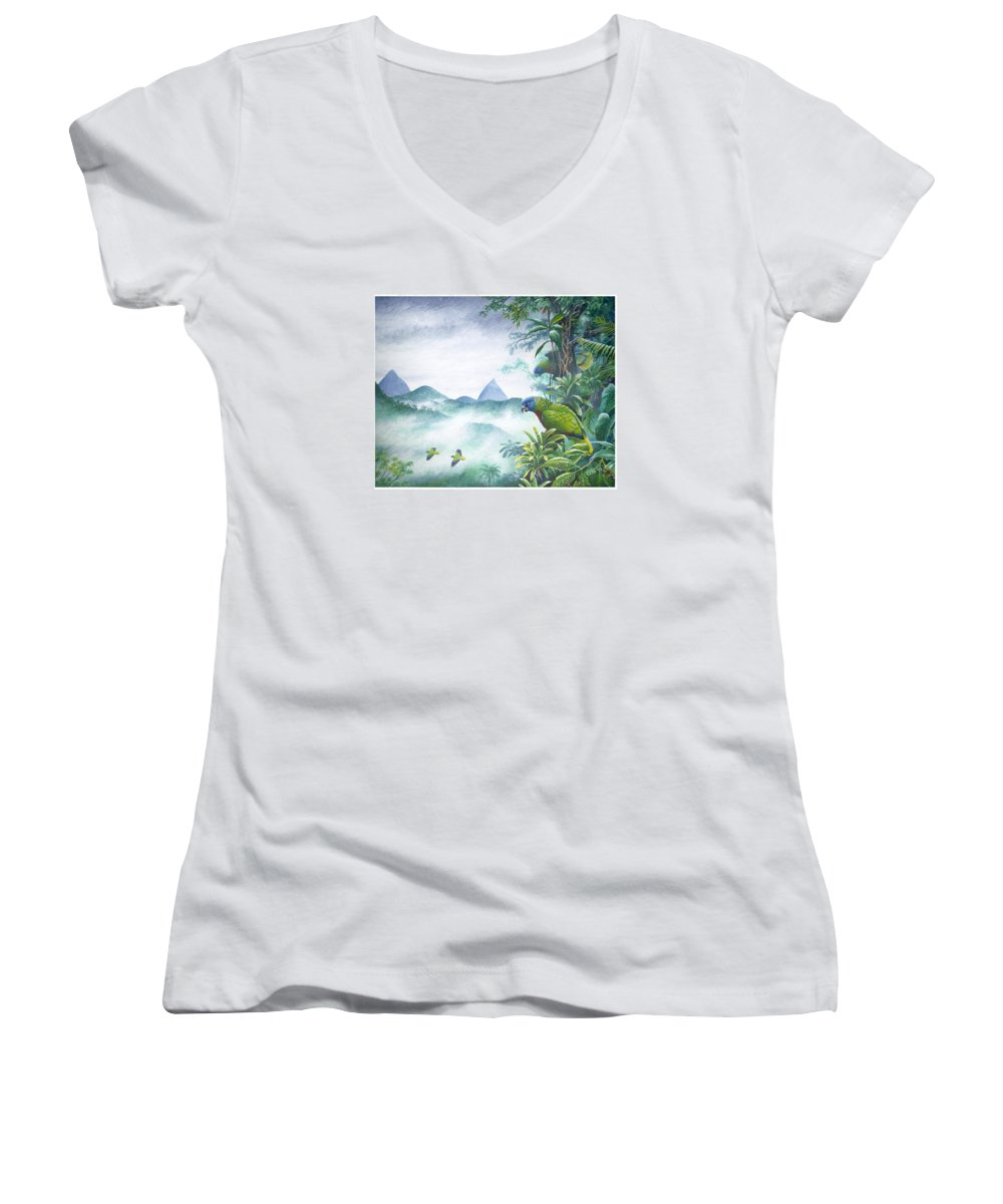 Chris Cox Women's V-Neck T-Shirt featuring the painting Rainforest Realm - St. Lucia Parrots by Christopher Cox