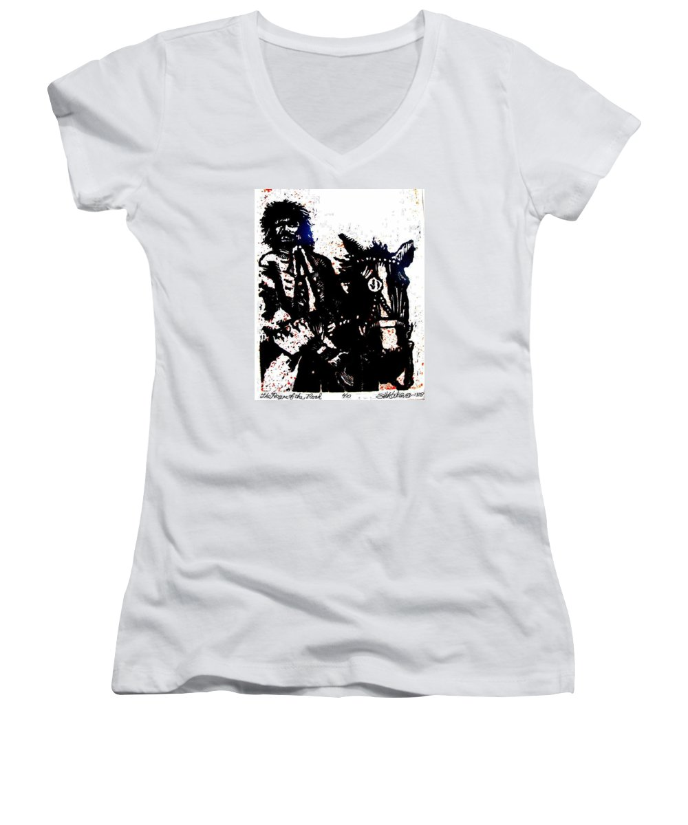 English Highwayman Women's V-Neck (Athletic Fit) featuring the mixed media Rogue Of The Road by Seth Weaver