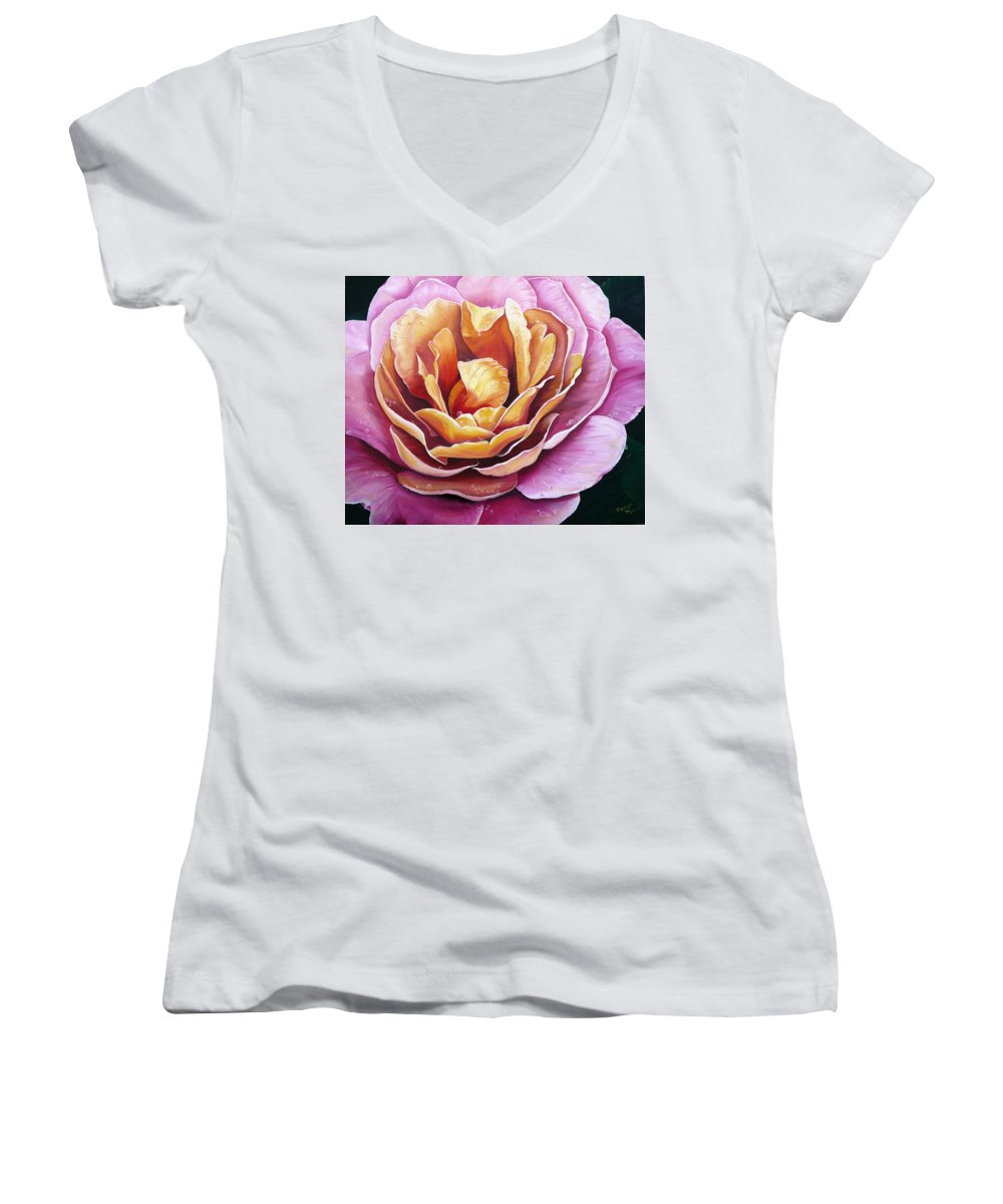 Rose Painting Pink Yellow Floral Painting Flower Bloom Botanical Painting Botanical Painting Women's V-Neck (Athletic Fit) featuring the painting Rosy Dew by Karin Dawn Kelshall- Best