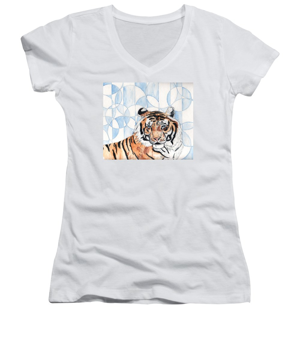 Tiger Women's V-Neck T-Shirt featuring the painting Royal Mysticism by Crystal Hubbard