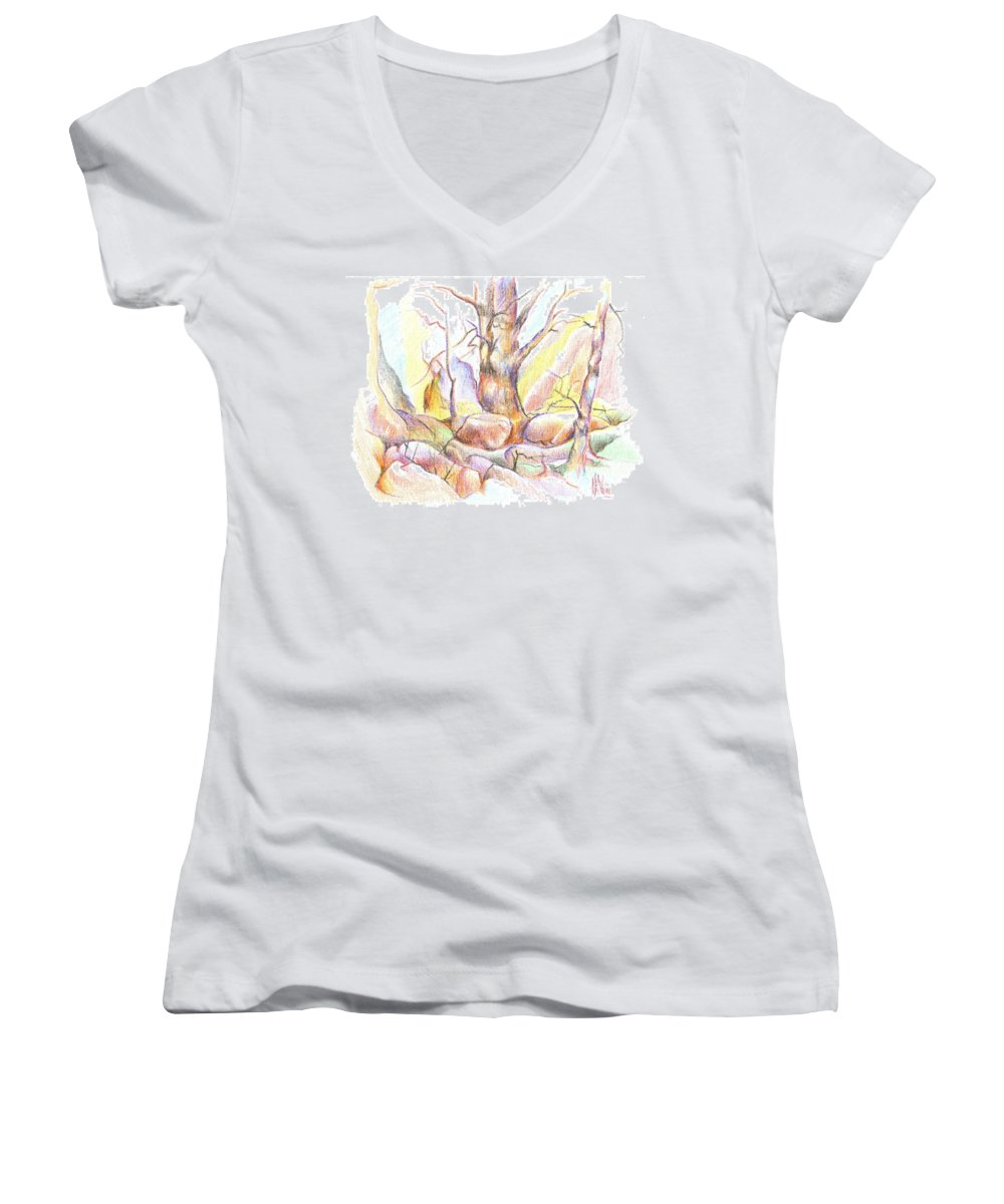 Softly Speaking Women's V-Neck T-Shirt featuring the painting Softly Speaking by Kip DeVore