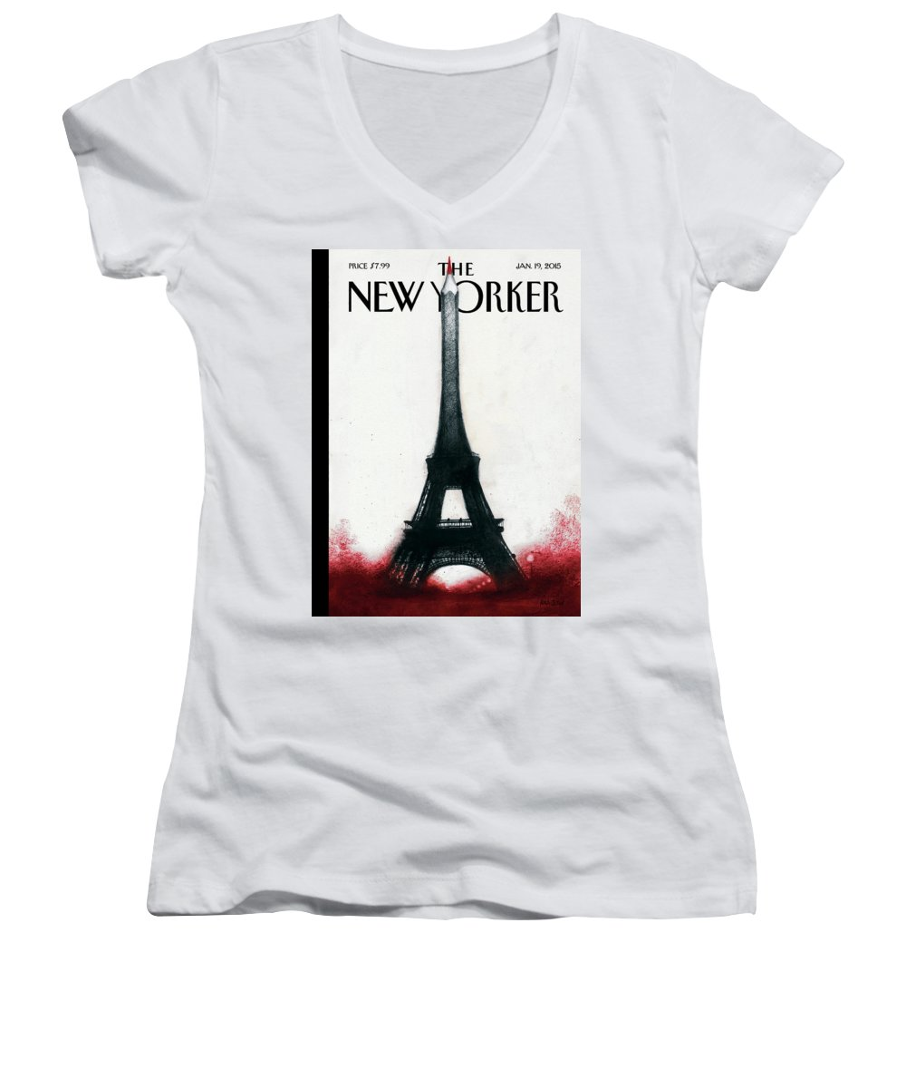 Charlie Hebdo Women's V-Neck featuring the painting Solidarite by Ana Juan