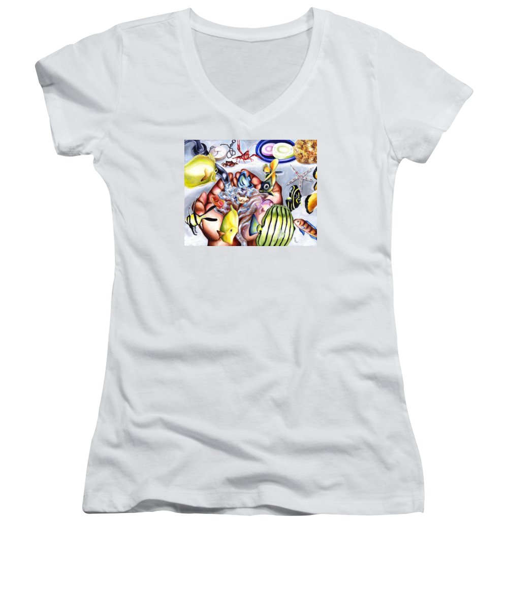 Dream Women's V-Neck (Athletic Fit) featuring the painting Still Drunk by Hiroko Sakai