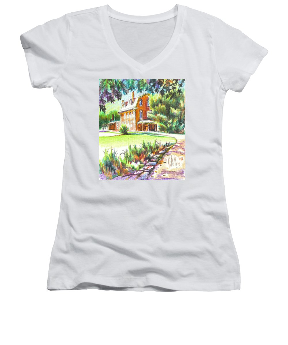 Summertime At Ursuline No C101 Women's V-Neck (Athletic Fit) featuring the painting Summertime At Ursuline No C101 by Kip DeVore