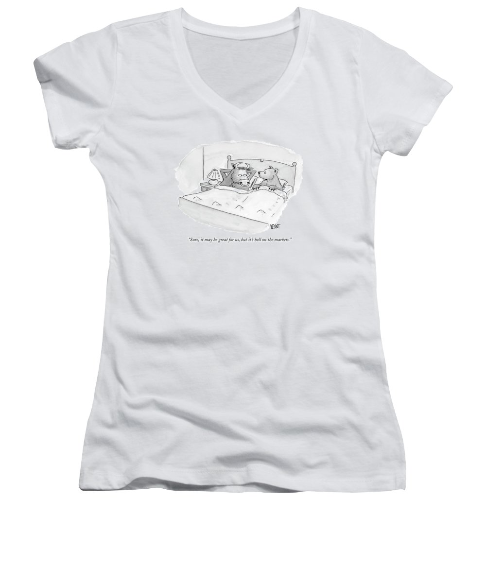Stocks Women's V-Neck featuring the drawing Sure, It May Be Great For Us, But It's Hell by Christopher Weyant