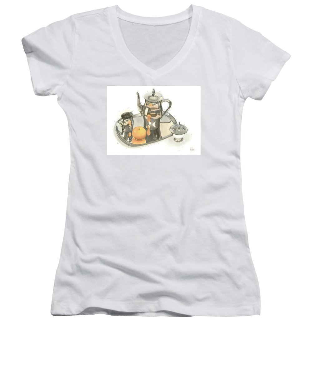 Tea Service With Orange Women's V-Neck T-Shirt featuring the painting Tea Service With Orange by Kip DeVore