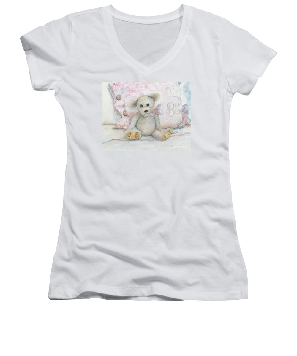 Teddy Bear Women's V-Neck T-Shirt featuring the painting Teddy Friend by Nadine Rippelmeyer