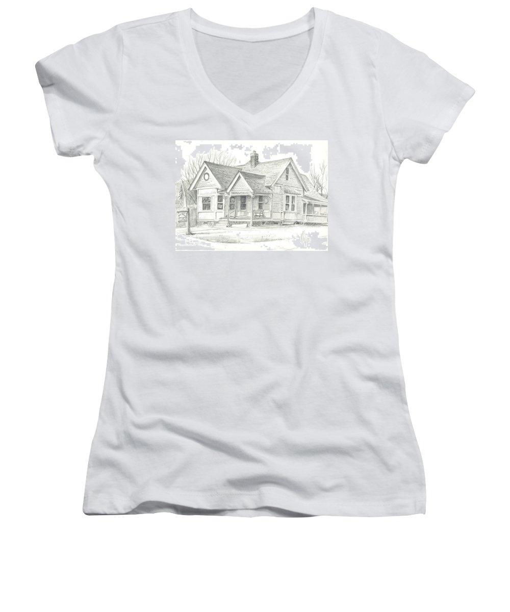 The Antique Shop Women's V-Neck T-Shirt featuring the drawing The Antique Shop by Kip DeVore