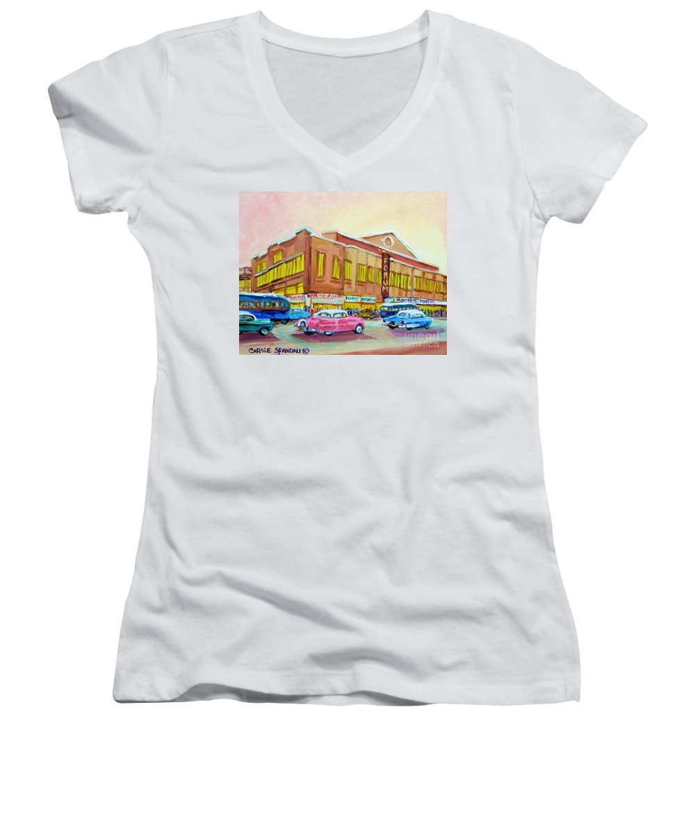 Montreal Women's V-Neck (Athletic Fit) featuring the painting The Montreal Forum by Carole Spandau