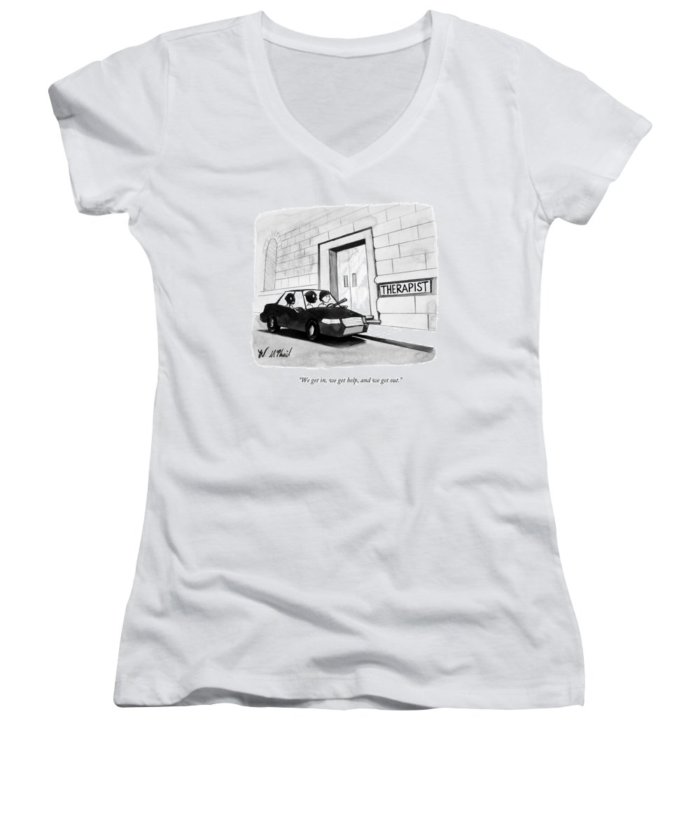 Therapy Women's V-Neck featuring the drawing Three Robbers Sit In A Car Outside A Building by Will McPhail