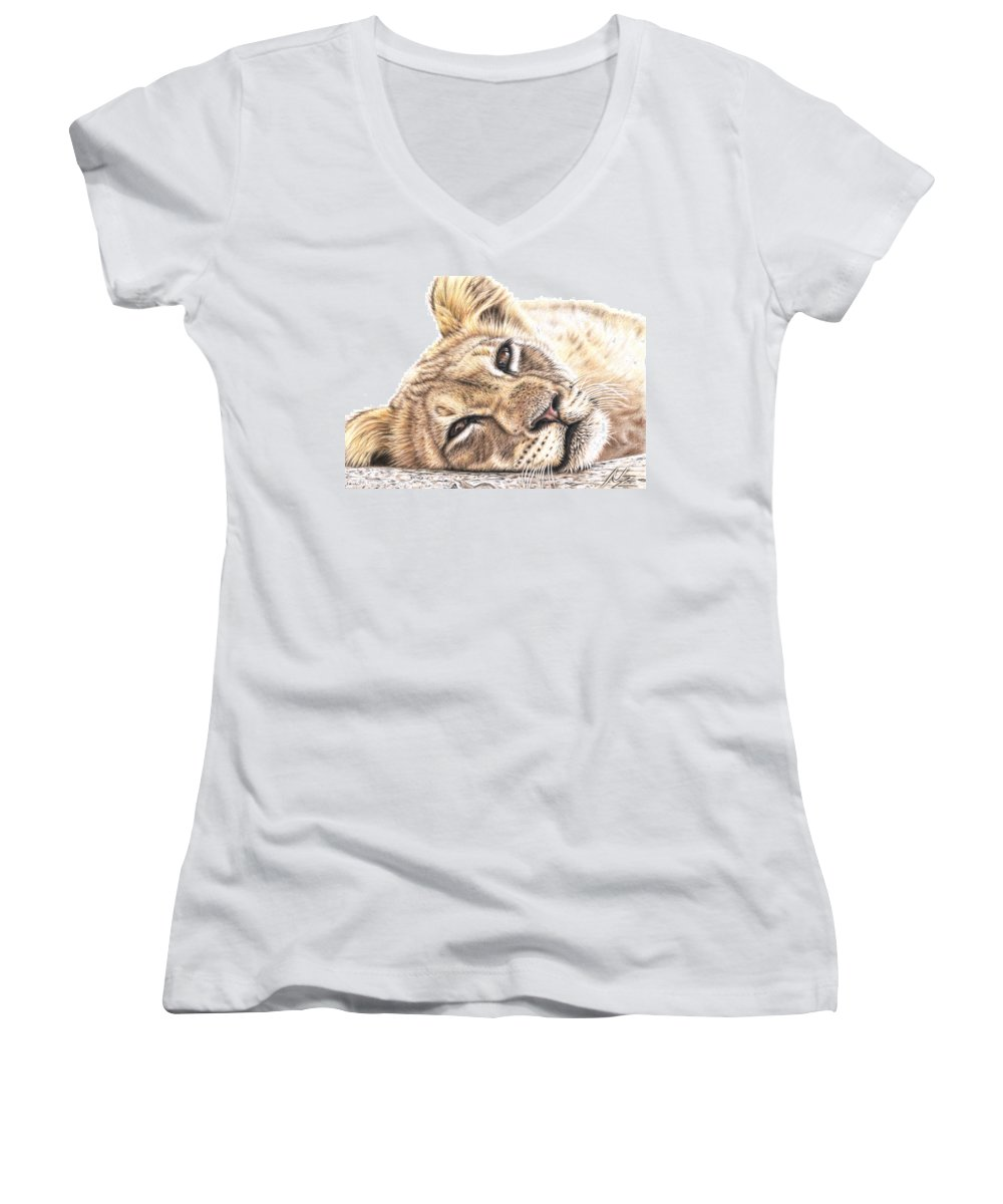 Lion Women's V-Neck (Athletic Fit) featuring the drawing Tired Young Lion by Nicole Zeug