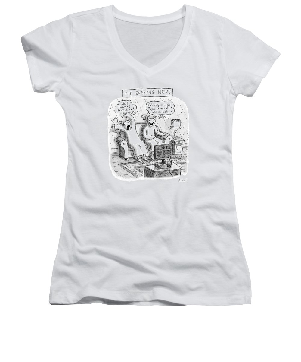 The Evening News Women's V-Neck featuring the drawing Title: The Evening News. A Person Wearing by Roz Chast