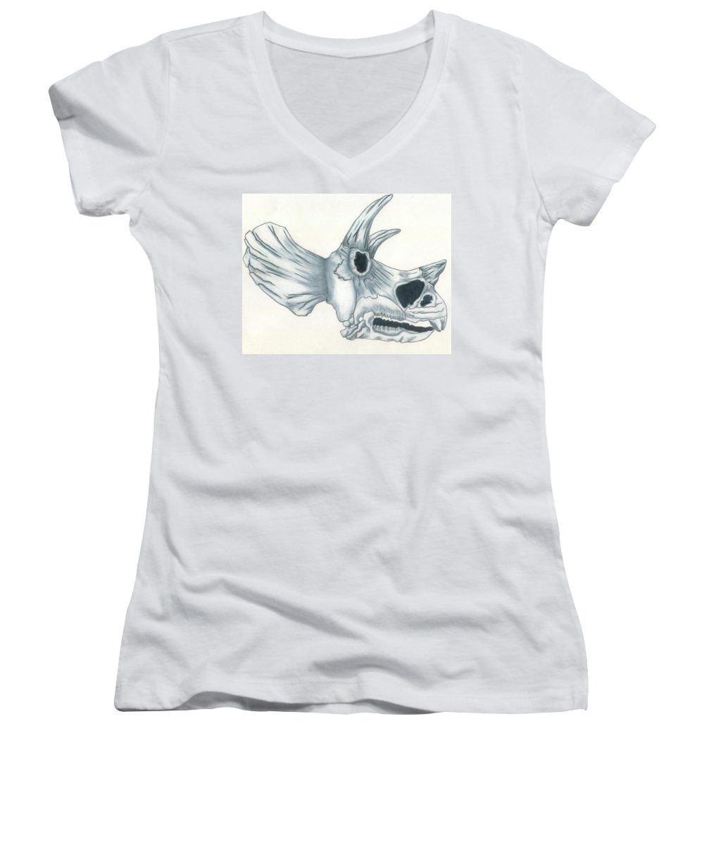 Dinosaur Women's V-Neck T-Shirt featuring the drawing Tricerotops Skull by Micah Guenther