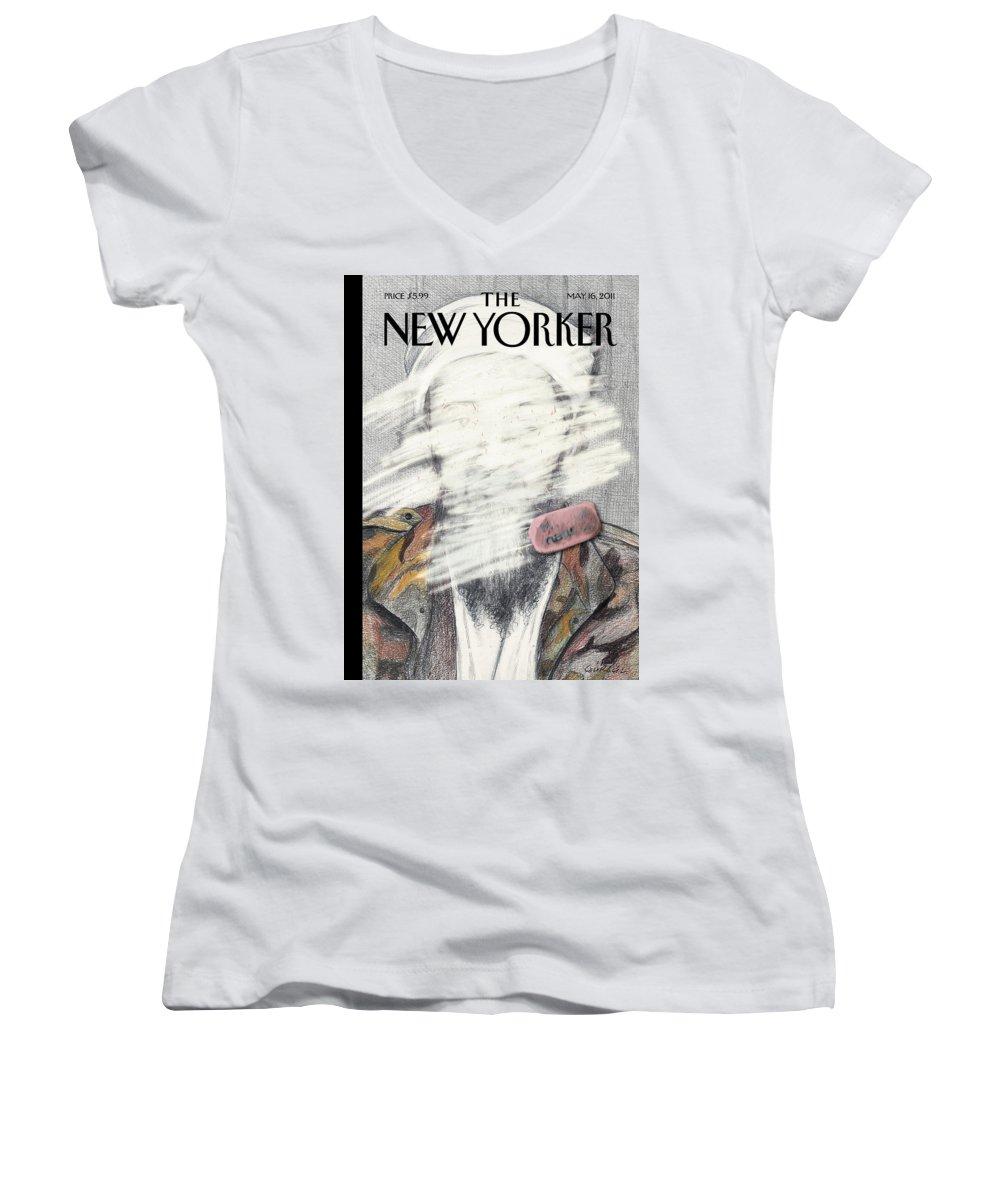 Osama Women's V-Neck featuring the painting New Yorker May 16th, 2011 by Gurbuz Dogan Eksioglu