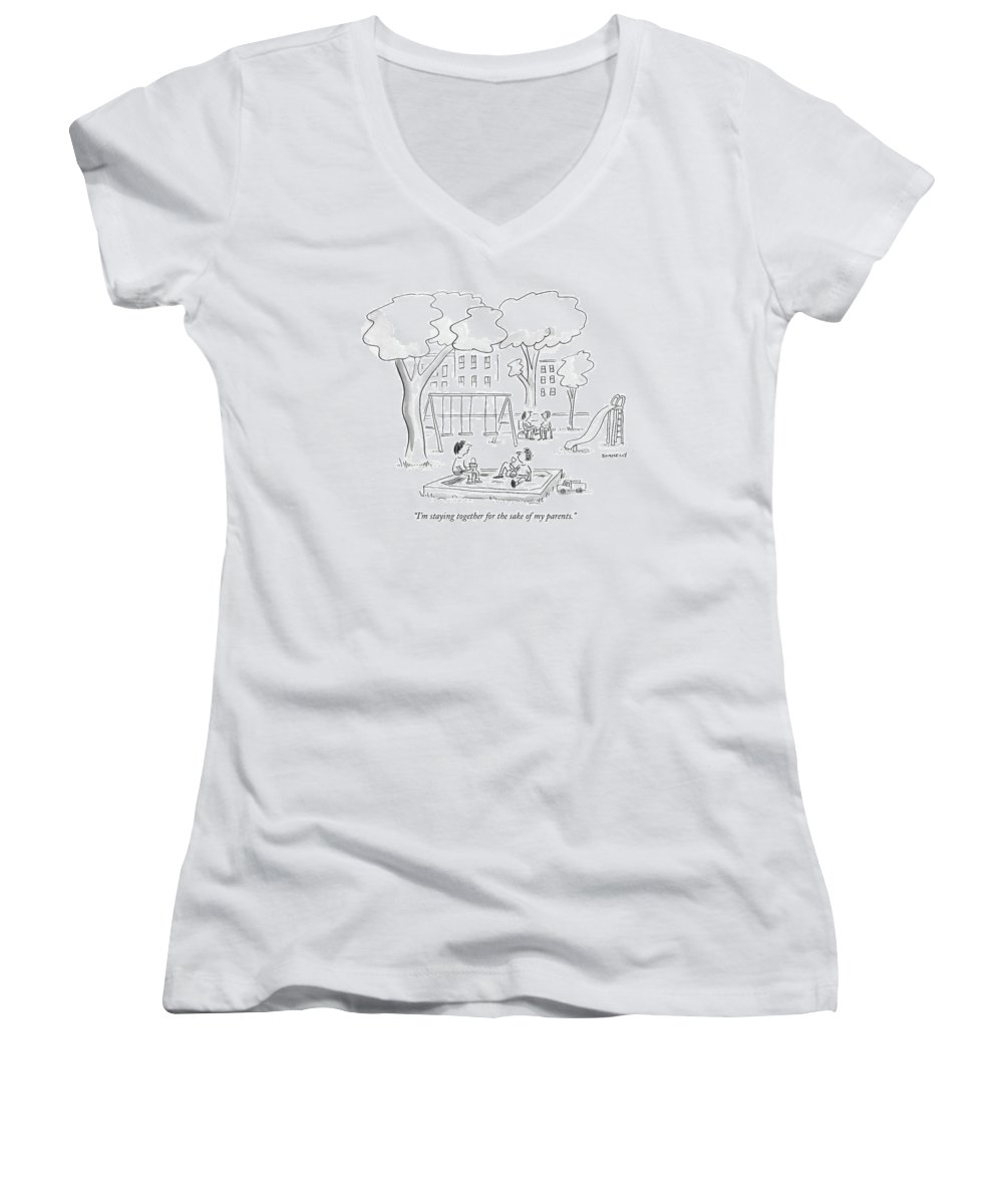 Family Relationships Children Marriage Divorce  (two Children Playing In A Sandbox.) 121127 Ldo Liza Donnelly Women's V-Neck featuring the drawing I'm Staying Together For The Sake Of My Parents by Liza Donnelly