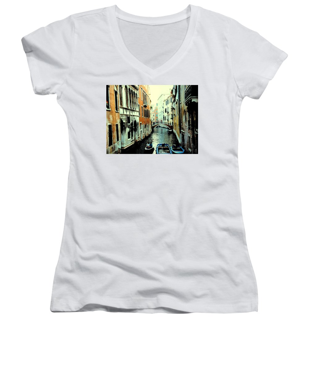 Venice Women's V-Neck (Athletic Fit) featuring the photograph Venice Street Scene by Ian MacDonald