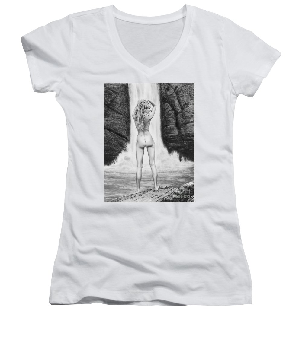 Waterfall Women's V-Neck T-Shirt featuring the drawing Waterfall Pin Up Girl by Murphy Elliott