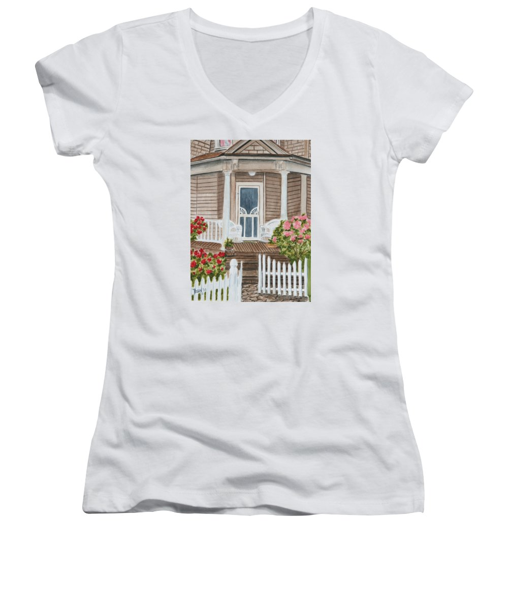 Architecture Women's V-Neck (Athletic Fit) featuring the painting Welcome by Regan J Smith