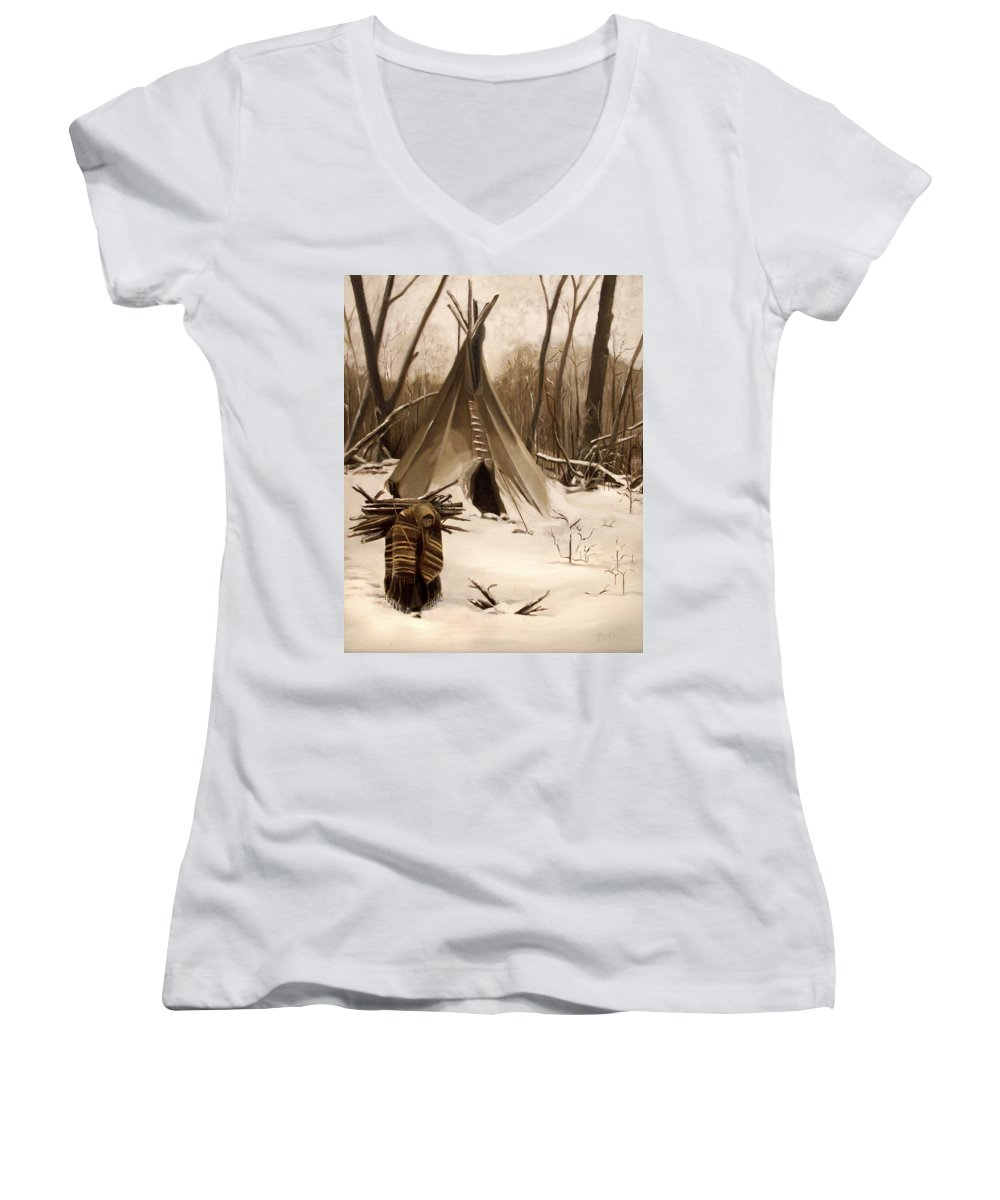 Native American Women's V-Neck (Athletic Fit) featuring the painting Wood Gatherer by Nancy Griswold