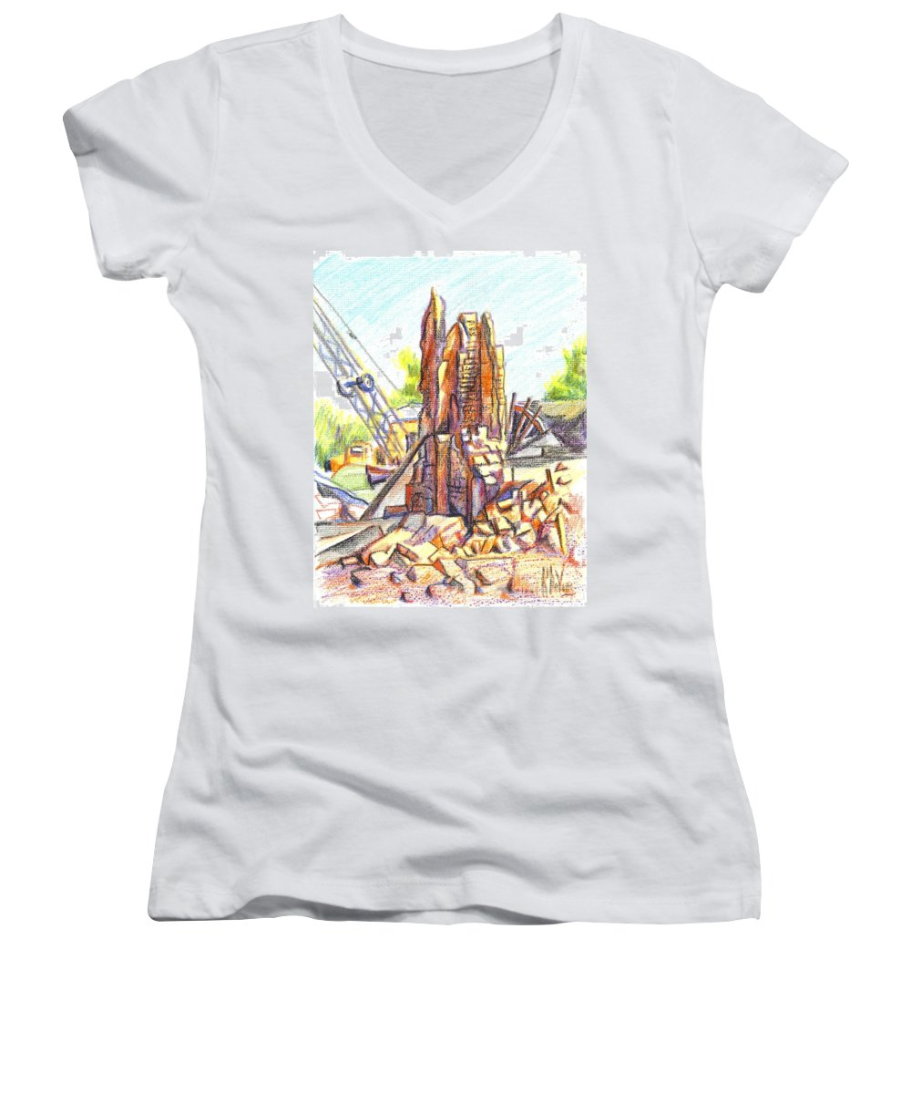 Wrecking Ball Women's V-Neck (Athletic Fit) featuring the painting Wrecking Ball by Kip DeVore