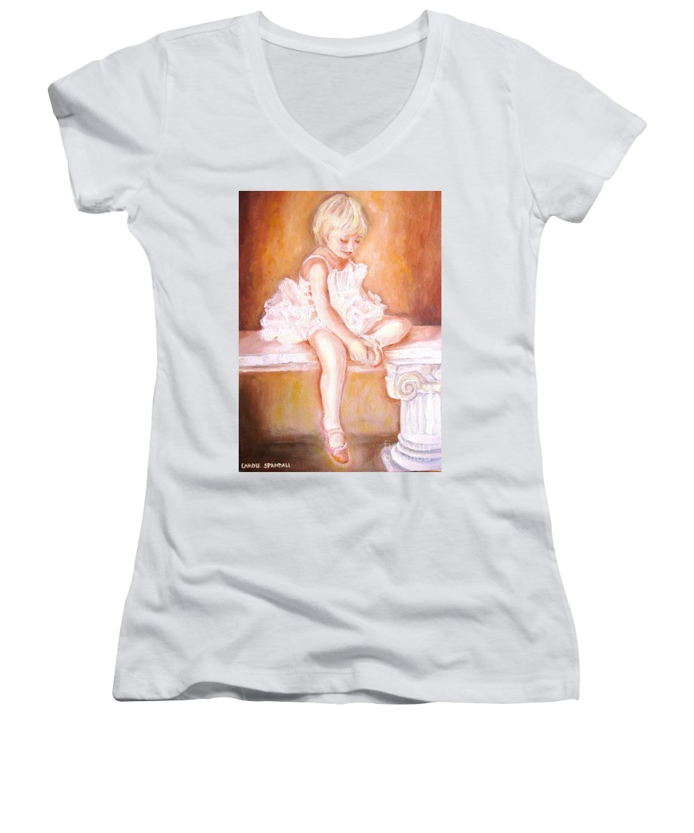 Ballerinas Women's V-Neck (Athletic Fit) featuring the painting The Little Ballerina by Carole Spandau