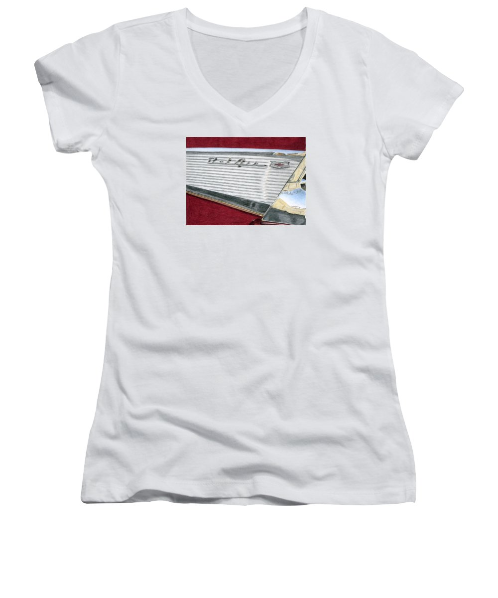 Classic Women's V-Neck T-Shirt featuring the drawing 1957 Chevrolet Bel Air Convertible by Rob De Vries