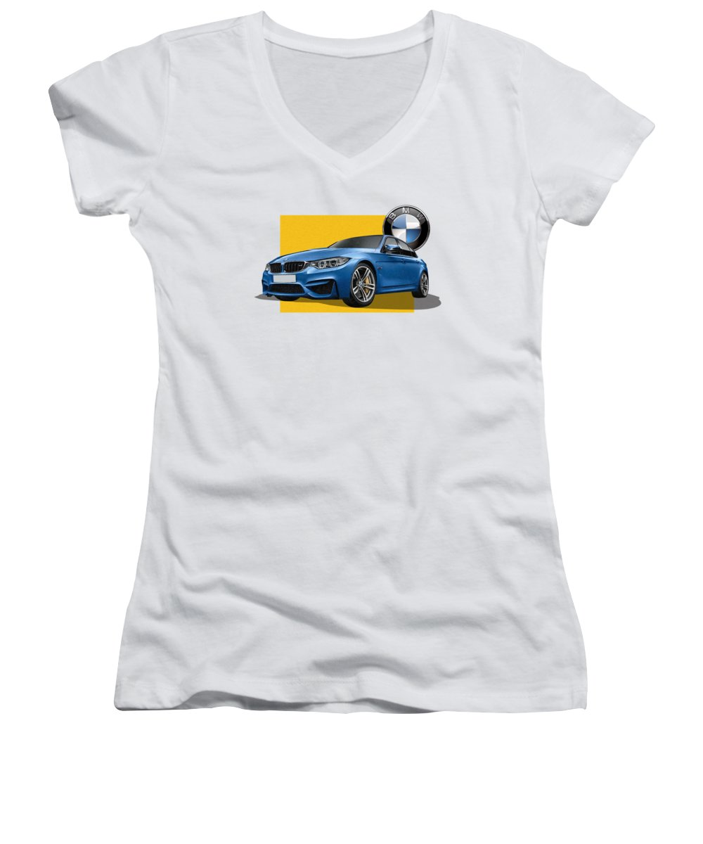 �bmw� Collection By Serge Averbukh Women's V-Neck featuring the photograph 2016 B M W M 3 Sedan With 3 D Badge by Serge Averbukh