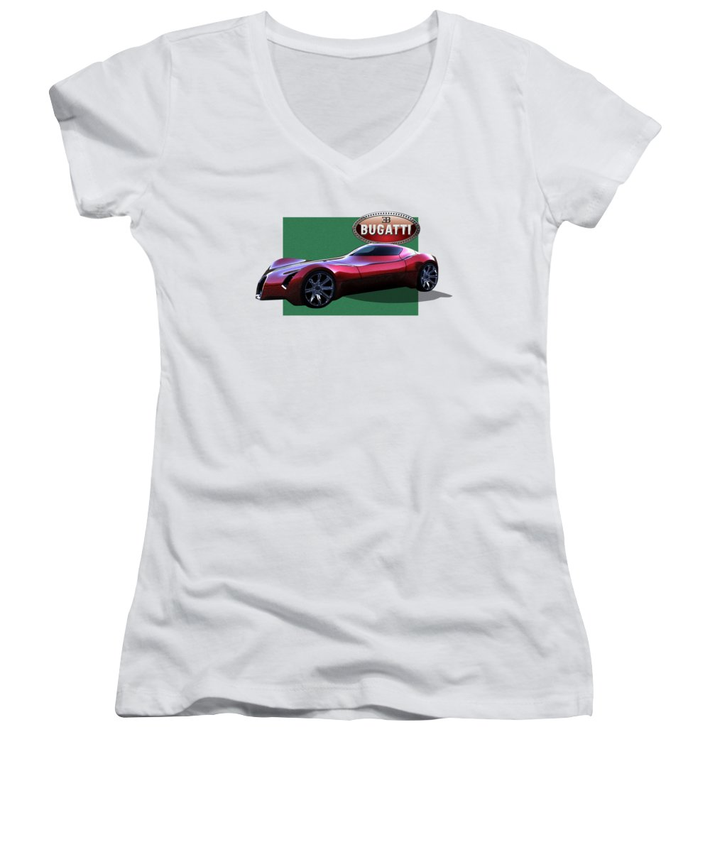 �bugatti� By Serge Averbukh Women's V-Neck featuring the photograph 2025 Bugatti Aerolithe Concept With 3 D Badge by Serge Averbukh